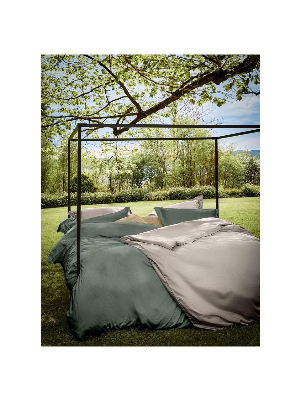 Pościel z organicznej satyny bawełnianej z lamówką Premium, Ciemny zielony, 135 x 200 cm + 1 poduszka 80 x 80 cm