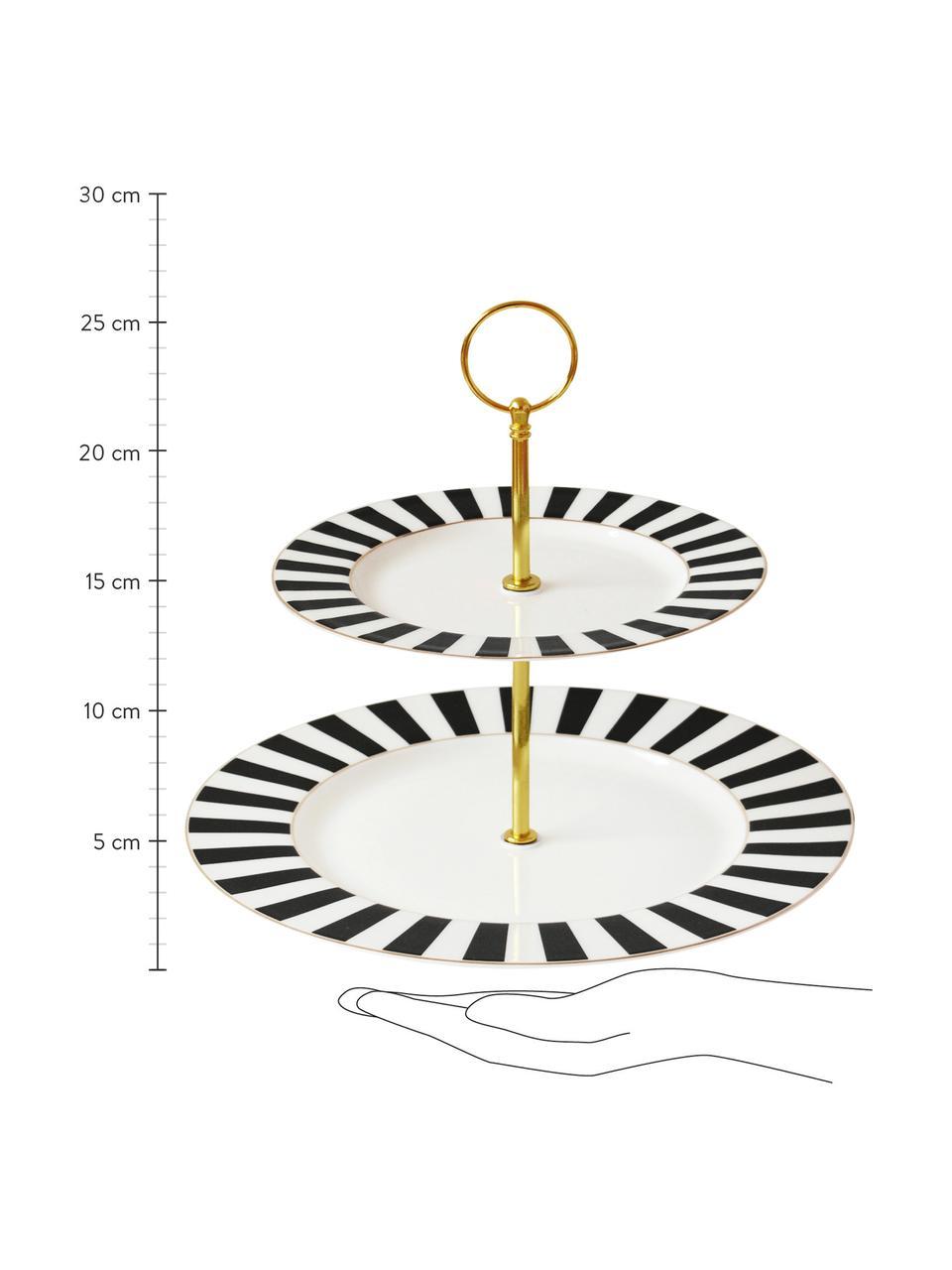 Etażerka Stripy, Czarny, biały, Ø 27 x W 26 cm