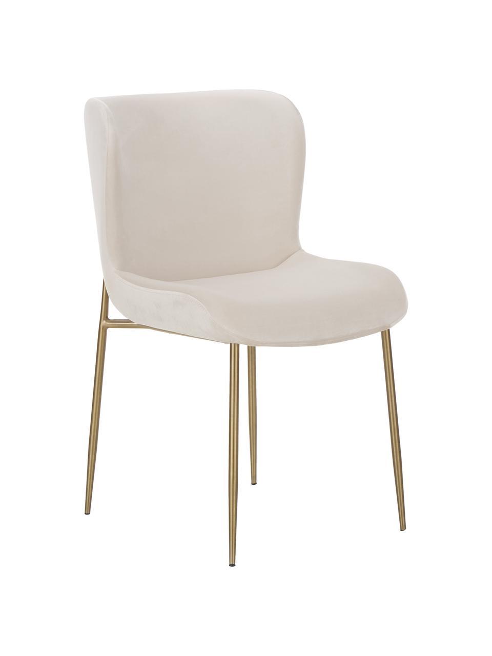 Chaise velours rembourrée Tess, Velours beige, pieds or