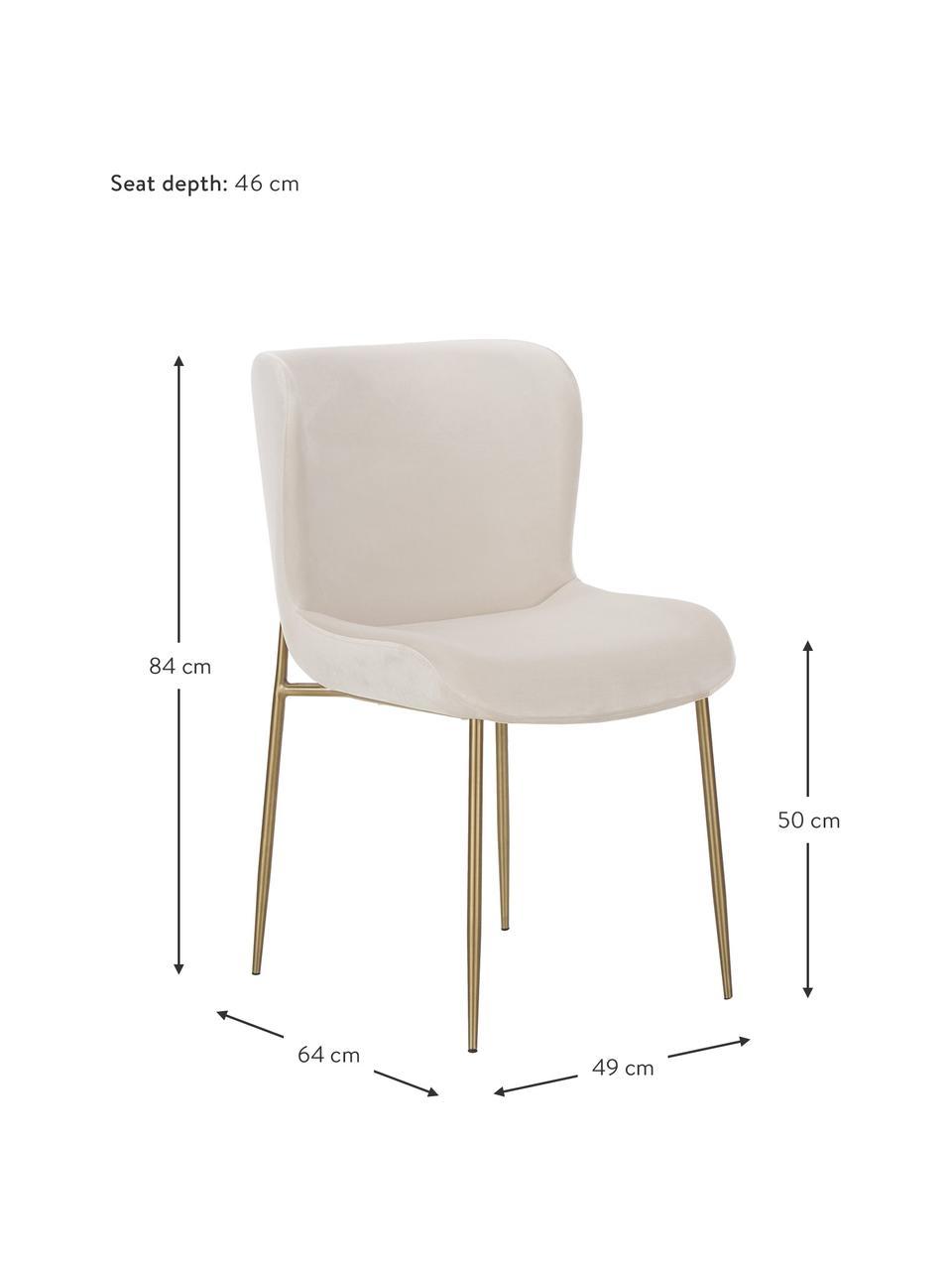 Sametová čalouněná židle Tess, Béžová Nohy: zlatá