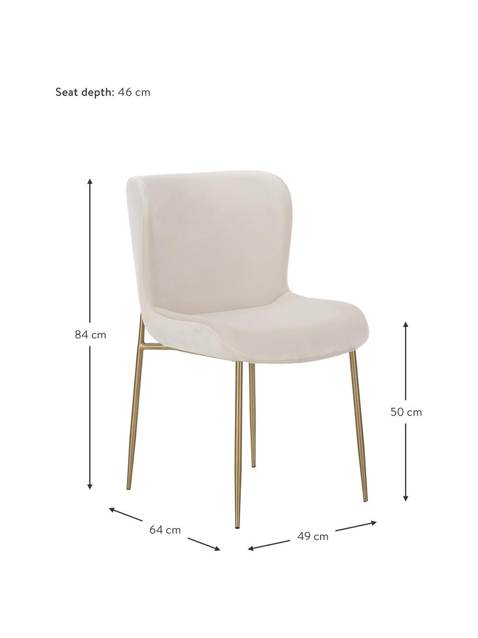 Samt-Polsterstuhl Tess in Beige, Bezug: Samt (Polyester) Der hoch, Beine: Metall, pulverbeschichtet, Samt Beige, Gold, B 49 x T 64 cm