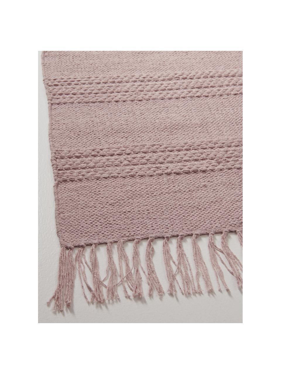 Tappeto in cotone a righe tono su tono con frange Tanya, 100% cotone, Rosa, Larg. 200 x Lung. 300 cm (taglia L)
