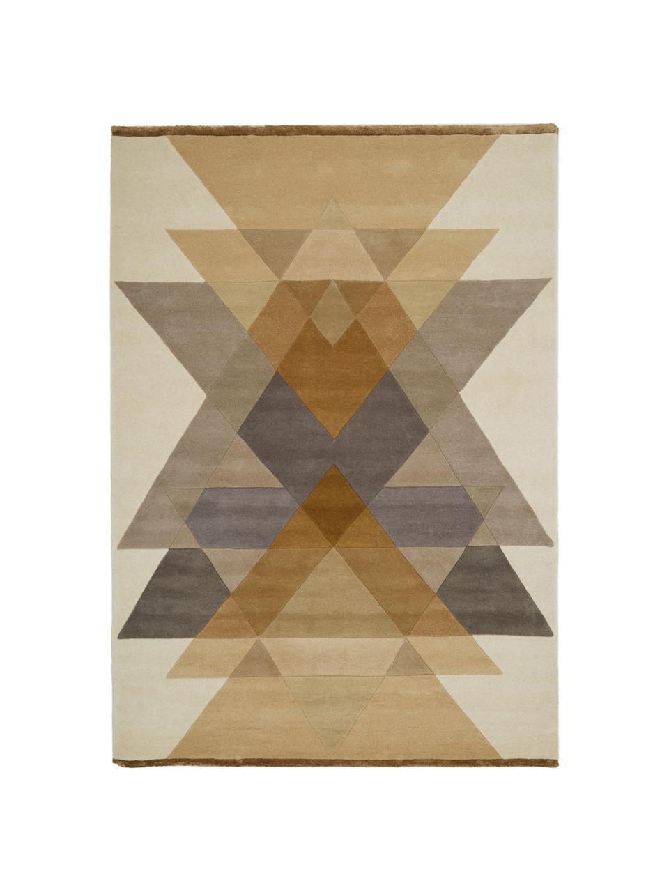 Tapis design en laine tufté main Freya, Jaune moutarde, beige, gris, brun