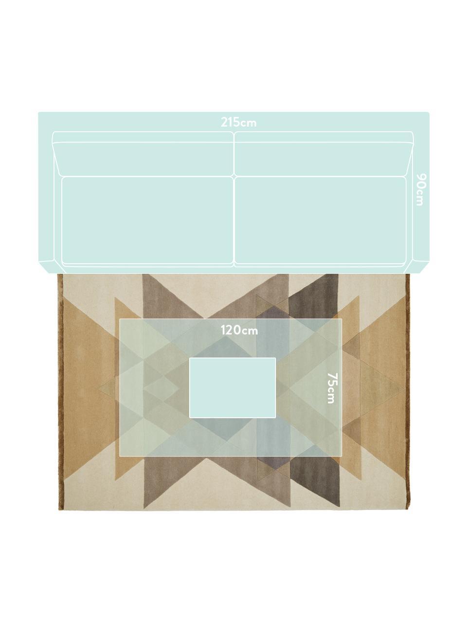 Handgetuft design vloerkleed Freya van wol, Bovenzijde: 95% wol, 5% viscose, Onderzijde: wol, Mosterdgeel, beige, grijs, bruin, B 200 x L 300 cm (maat L)