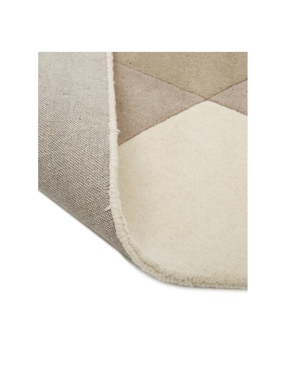 Tappeto di design in lana taftato a mano Freya, Retro: lana Nel caso dei tappeti, Giallo senape, beige, grigio, marrone, Larg. 200 x Lung. 300 cm (taglia L)