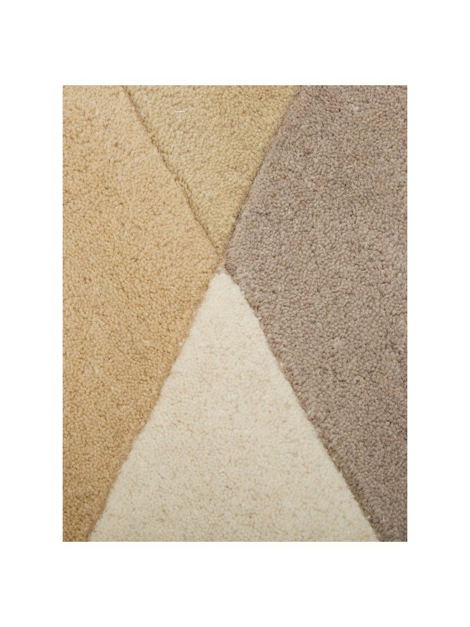Handgetufteter Designteppich Freya aus Wolle, Flor: 95% Wolle, 5% Viskose, Senfgelb, Beige, Grau, Braun, B 200 x L 300 cm (Größe L)