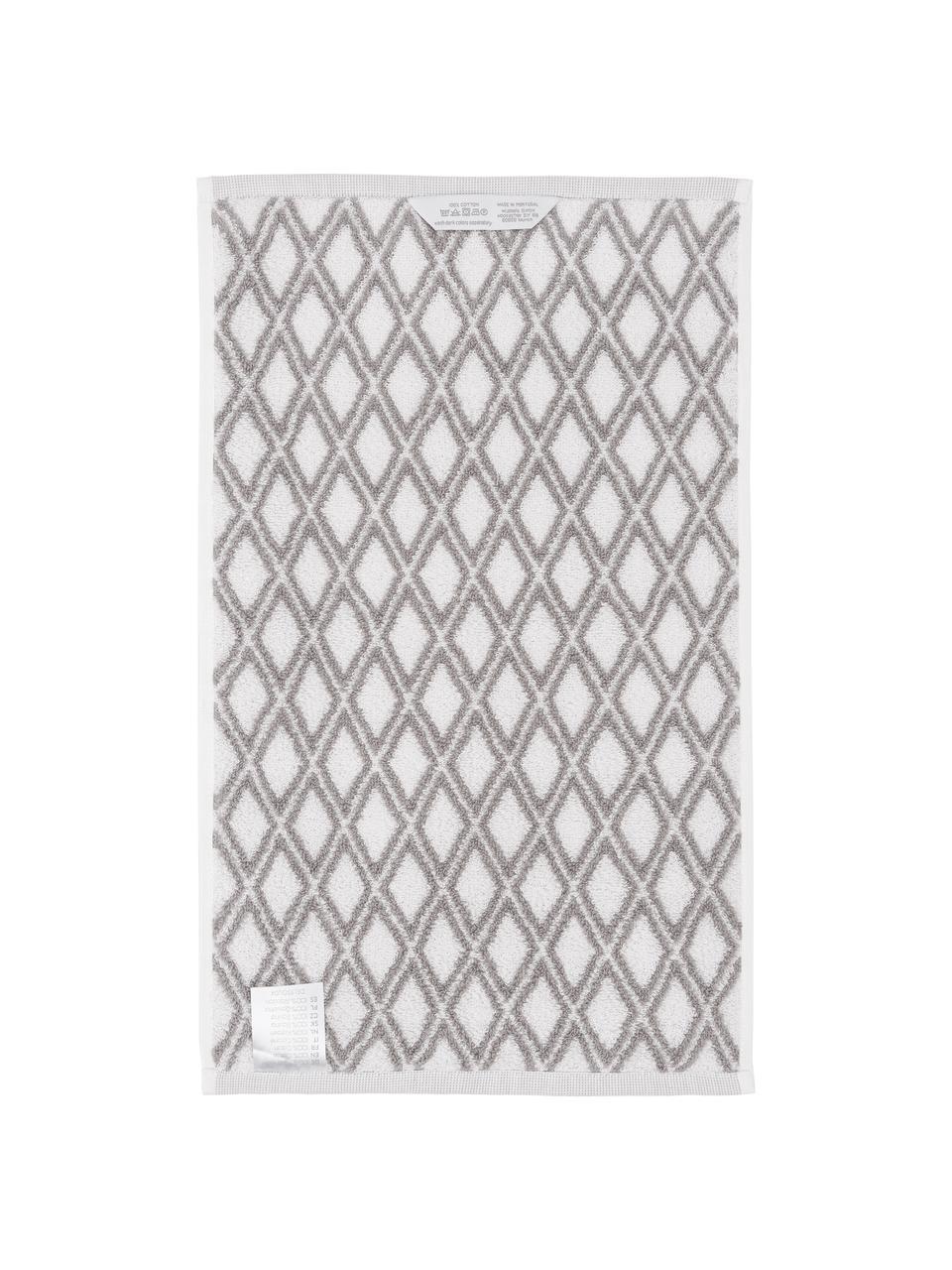 Serviette de toilette réversible en coton pur Ava, Gris, blanc crème