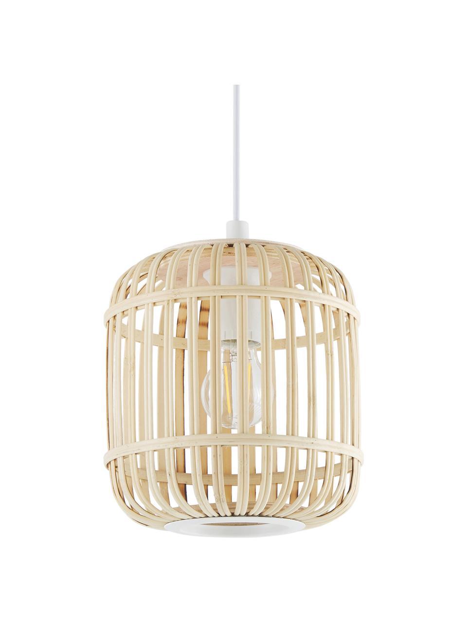 Lampada a sospensione in bambù Adam, Paralume: bambù legno, Baldacchino: metallo verniciato a polv, Bianco, beige, Ø 21 x Alt. 24 cm