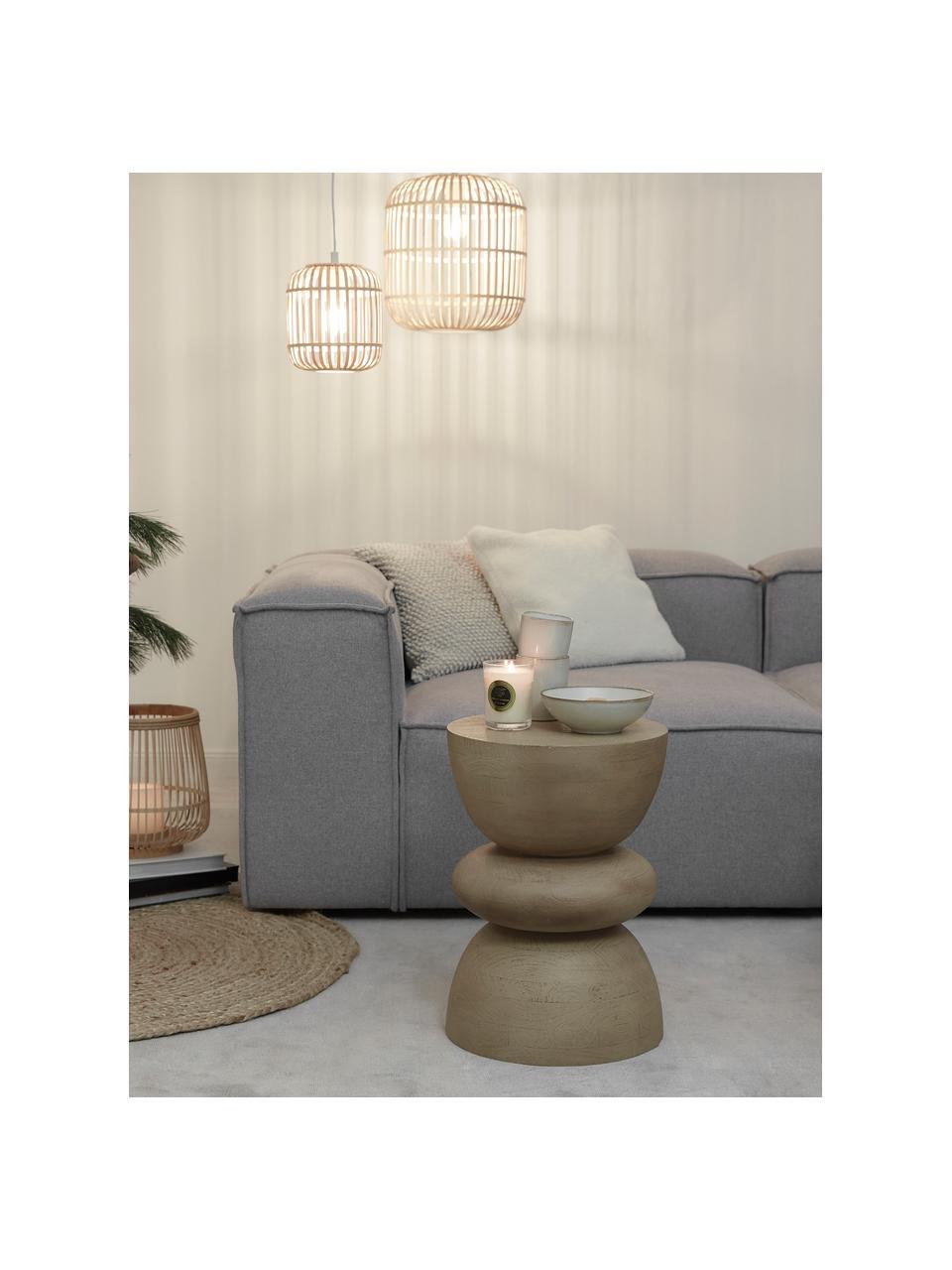 Kleine hanglamp Adam van bamboehout, Baldakijn: gepoedercoat metaal, Lampenkap: bamboe, multiplex, Wit, beige, Ø 35  x H 38 cm