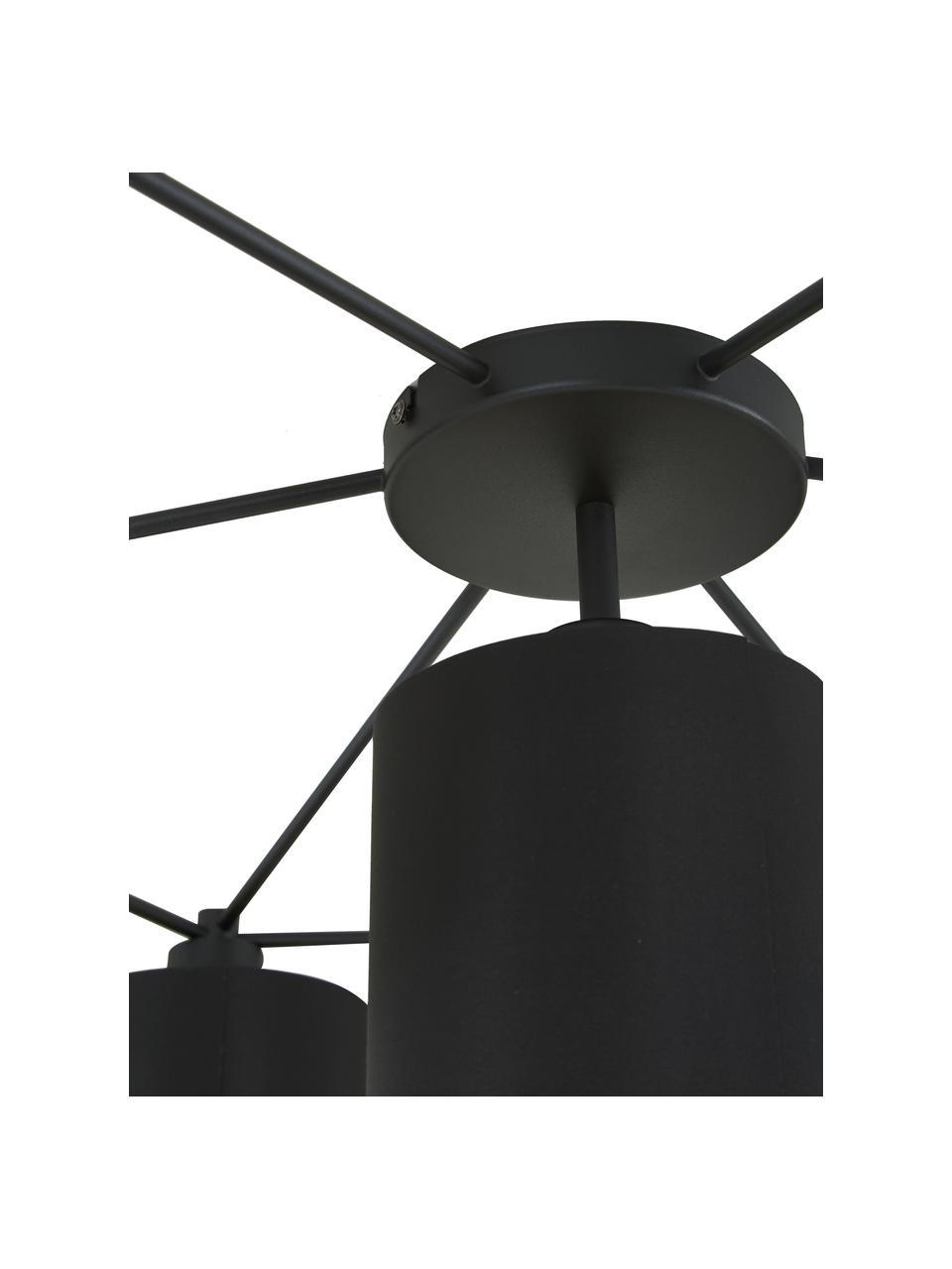 Große Deckenleuchte Staiti in Schwarz-Gold, Baldachin: Stahl, lackiert, Schwarz, Ø 84 x H 24 cm