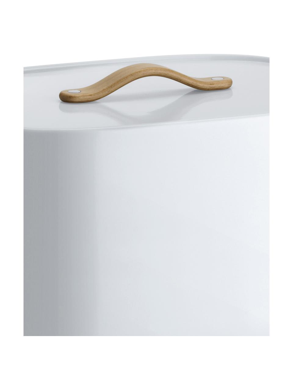 Designer Brotkasten Emma in Weiß mit Blaustich, Griff: Buchenholz, Weiß mit Blaustich, 33 x 17 cm