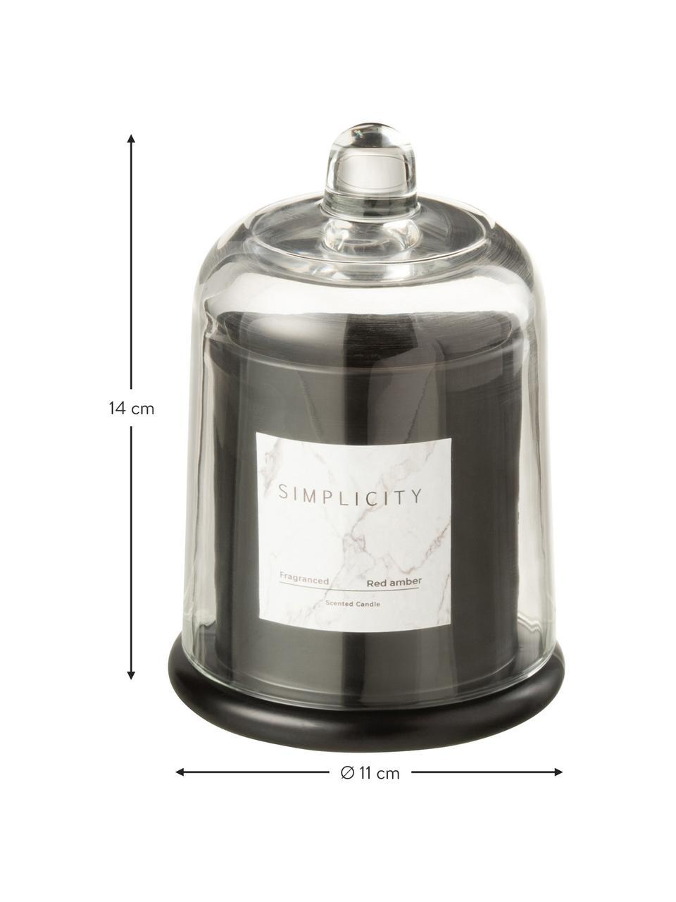 Duftkerze Simplicity mit Glasglocke (Ambra), Behälter: Glas, Schwarz, Ø 11 x H 14 cm