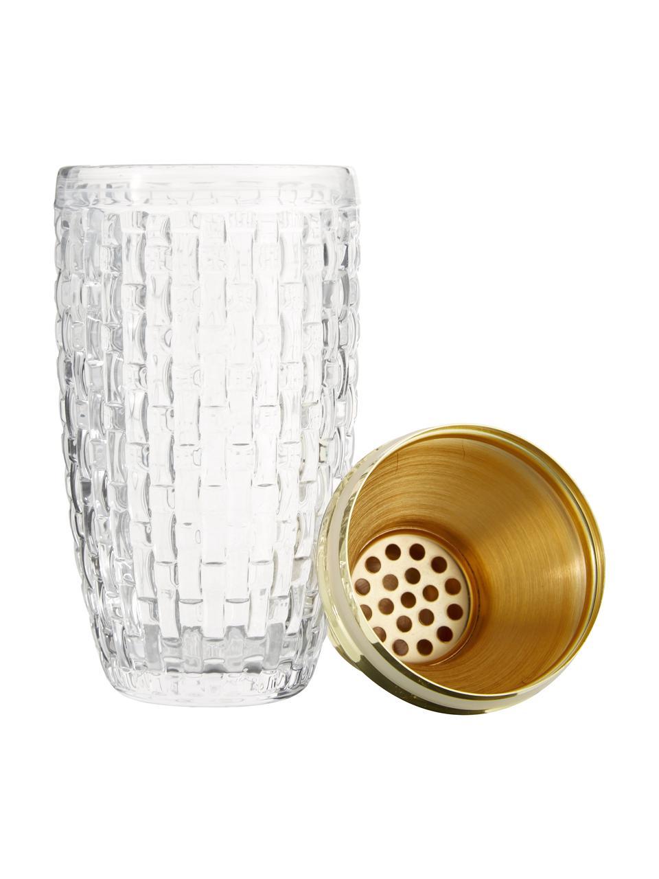 Shaker do koktajli Jolin, Transparentny, odcienie złotego, Ø 8 x W 20 cm