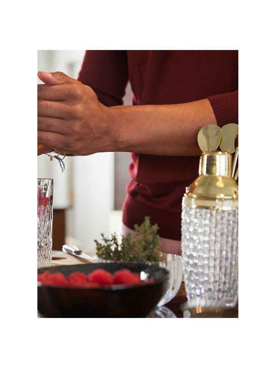 Cocktailshaker Jolin in transparant/goudkleurig, Shaker: glas, Sluiting: edelstaal, Transparant, goudkleurig, Ø 9 x H 22 cm