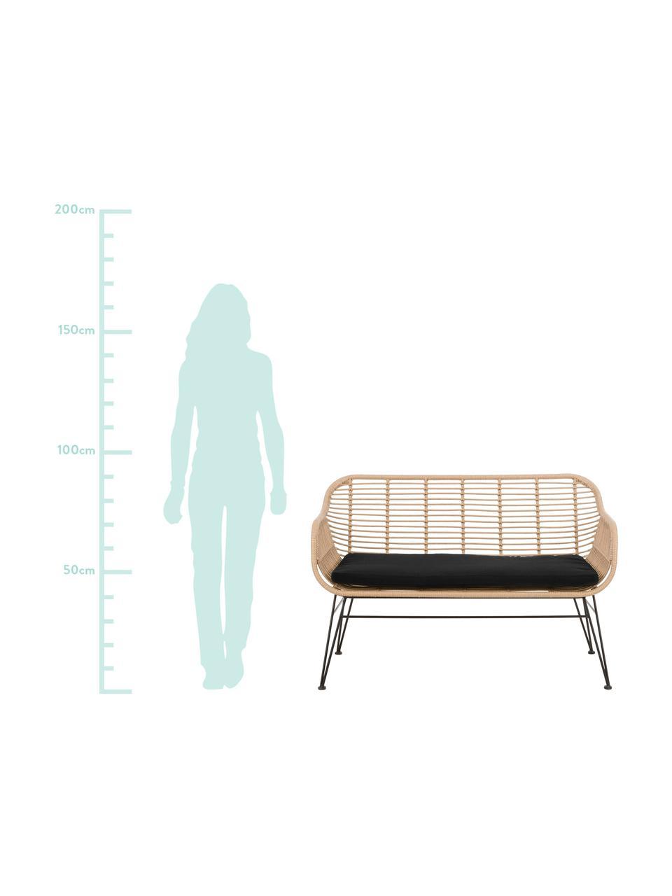 Tuinbank Costa met polyrotan, Zitvlak: polyethyleen-vlechtwerk, Frame: gepoedercoat metaal, Lichtbruin, B 126 x D 68 cm