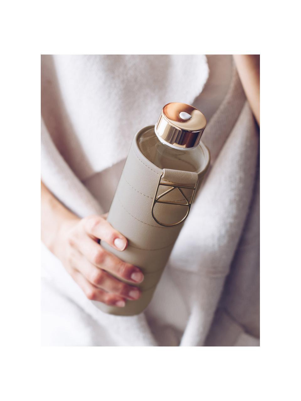 Trinkflasche Mismatch, Flasche: Borosilikatglas, Deckel: Edelstahl, Tritan, Siliko, Bezug: Kunstleder, Beige, Transparent, Ø 8 x H 26 cm