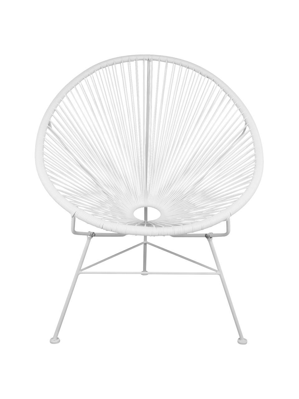 Sedia a poltrona intrecciata Bahia, Seduta: materiale sintetico, Struttura: metallo, verniciato a pol, Bianco, Larg. 81 x Prof. 73 cm