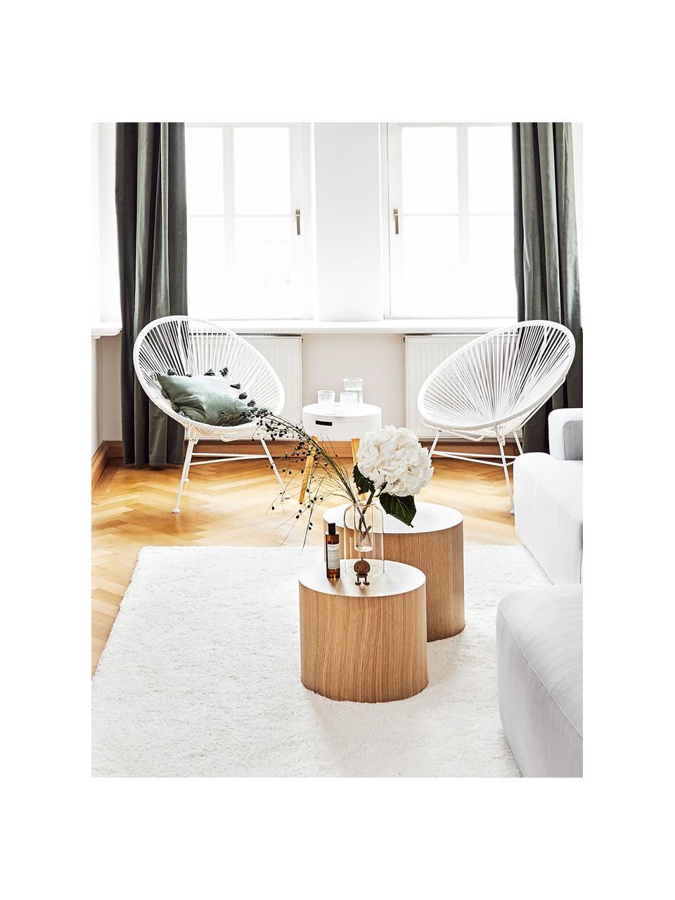 Fotel wypoczynkowy ze splotu z tworzywa sztucznego Bahia, Biały, S 81 x G 73 cm