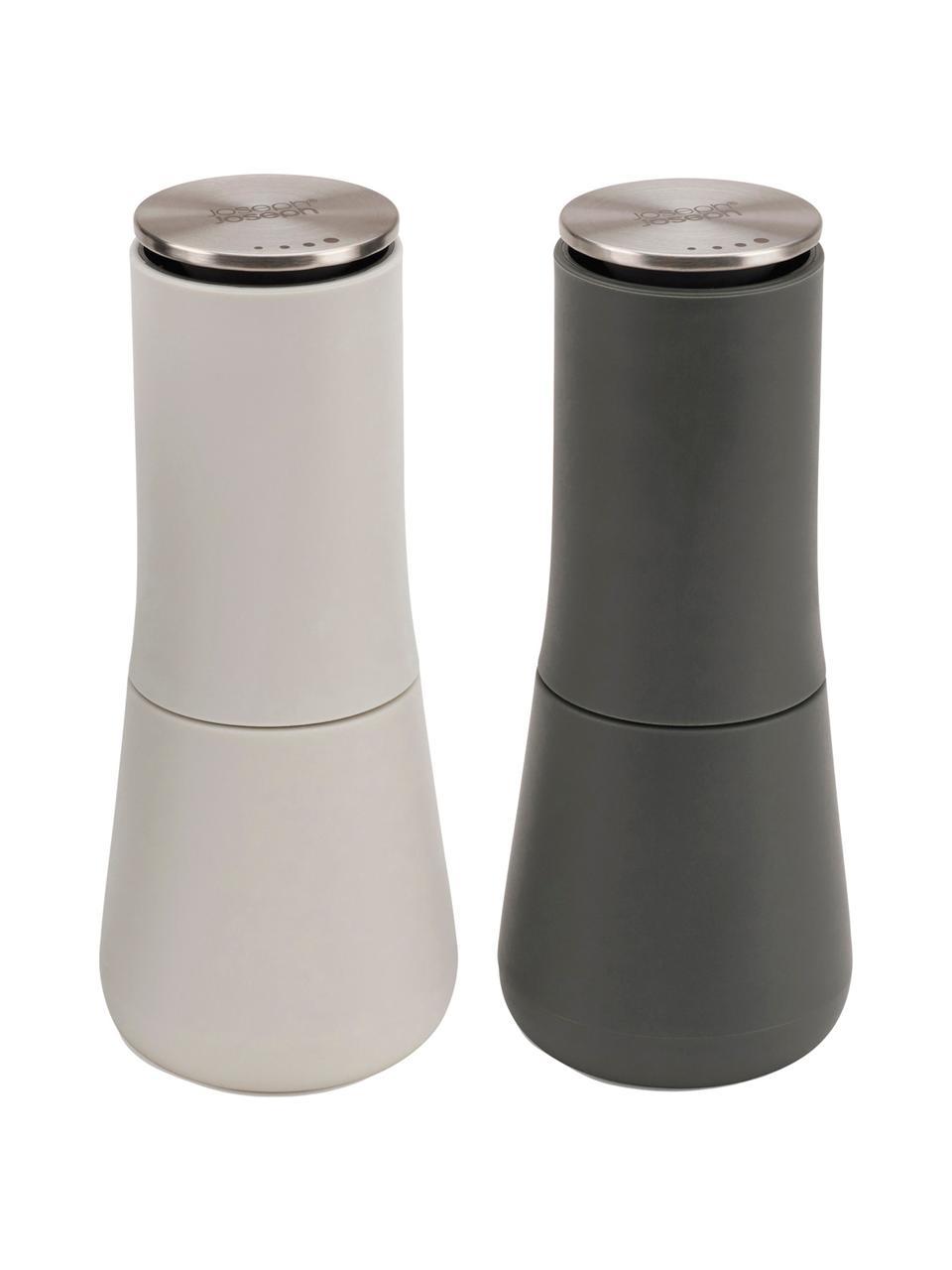 Salz- und Pfeffermühlen-Set Milltop, 2-tlg., Korpus: Kunststoff (TPE und ABS),, Mahlwerk: Keramik, Deckel: Edelstahl, Grau, Dunkelgrau, Ø 7 x H 17 cm