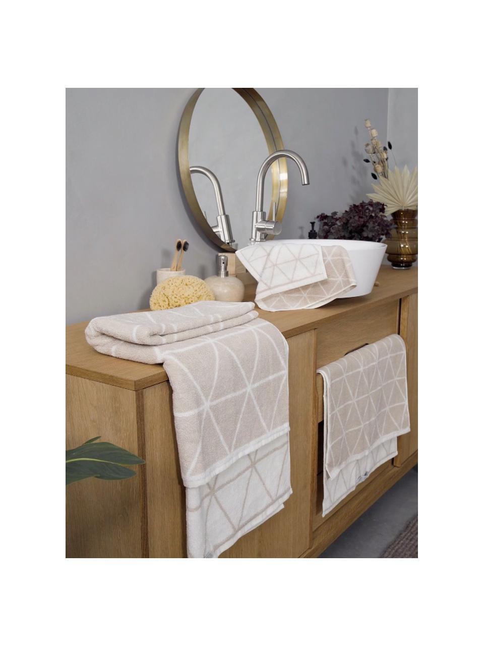 Lot de serviettes de bain réversibles Elina, 3élém., Couleur sable, blanc crème