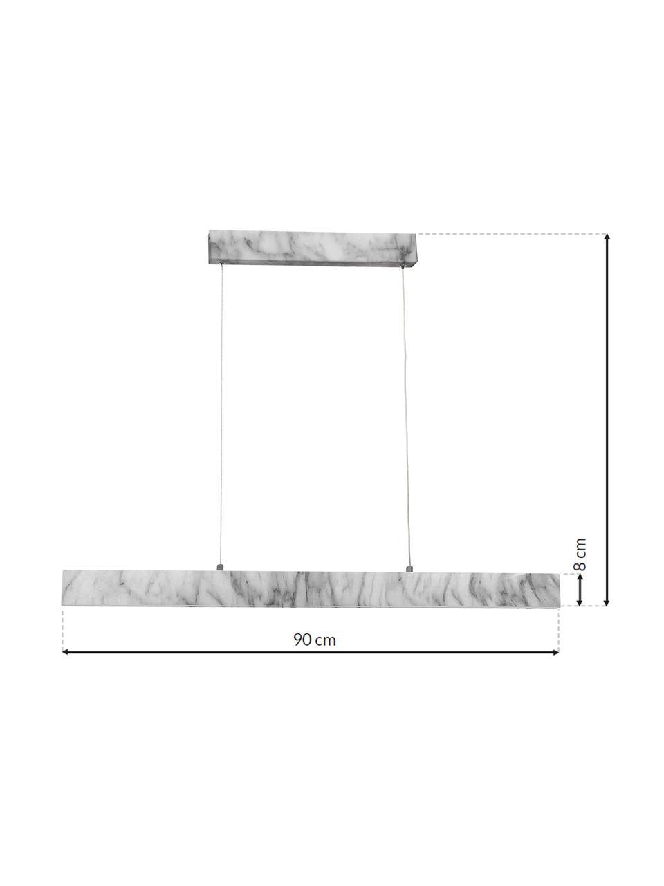 Große Schmale LED-Pendelleuchte Pierce in Marmoroptik, Lampenschirm: Metall, foliert, Baldachin: Metall, foliert, Weiß, marmoriert, 90 x 10 cm