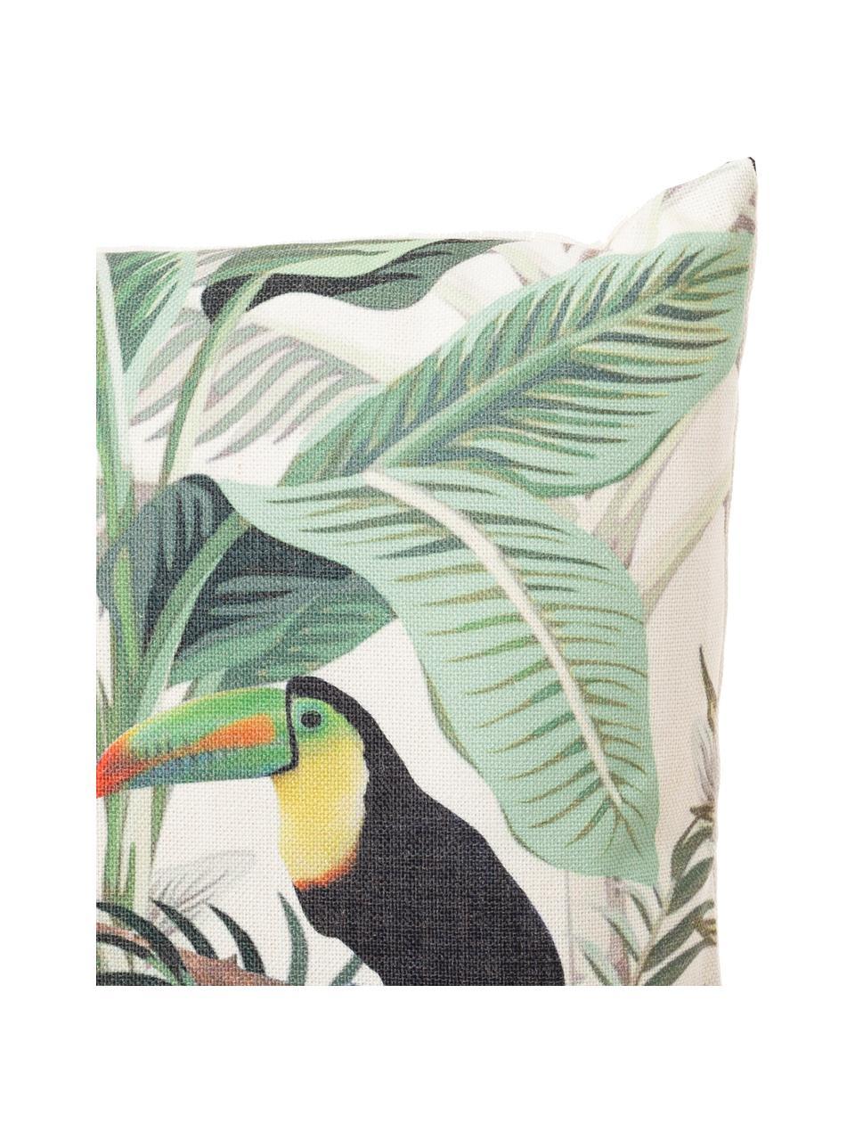 Outdoor-Kissen Toucan mit tropischem Motiv, mit Inlett, Bezug: 83% Polyester, 13% Baumwo, Grün, Mehrfarbig, 45 x 45 cm