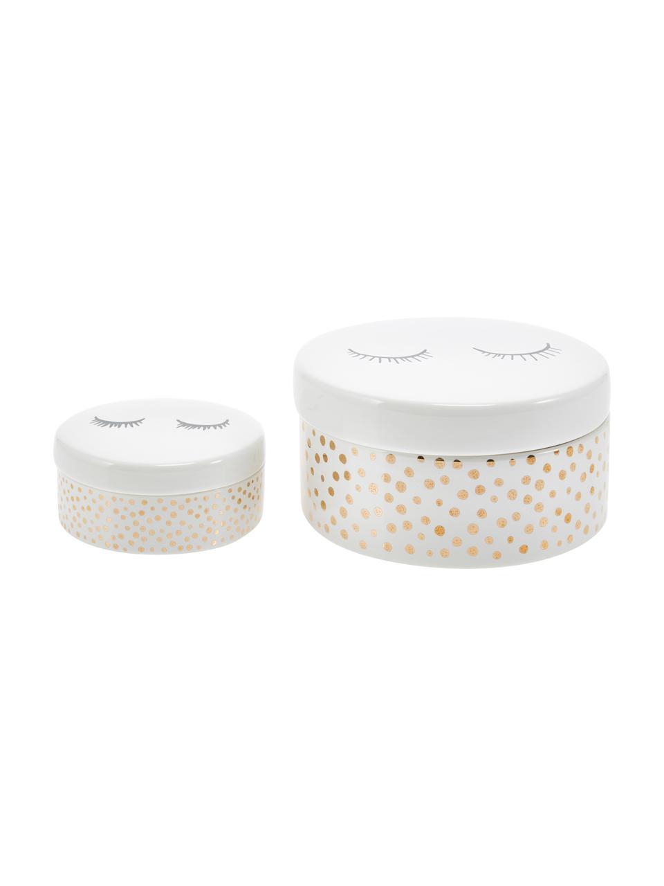 Aufbewahrungsdosen-Set Lashes, 2-tlg., Keramik, Weiß, Goldfarben, Sondergrößen
