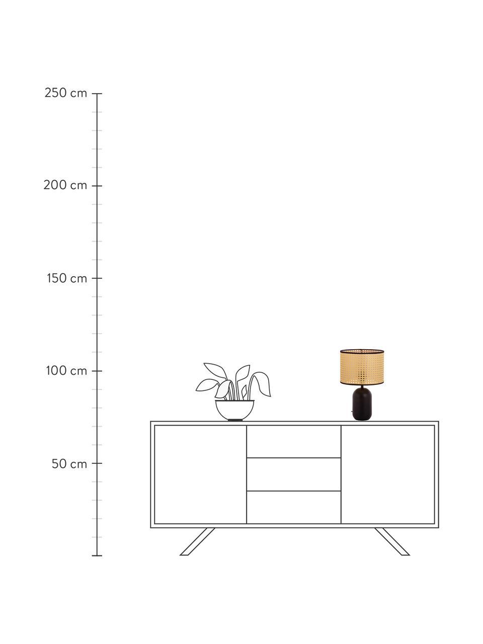 Lampada da tavolo con intreccio viennese Vienna, Paralume: materiale sintetico, Base della lampada: metallo verniciato a polv, Paralume: beige, nero Base della lampada: nero opaco Cavo: nero, Ø 25 x Alt. 39 cm