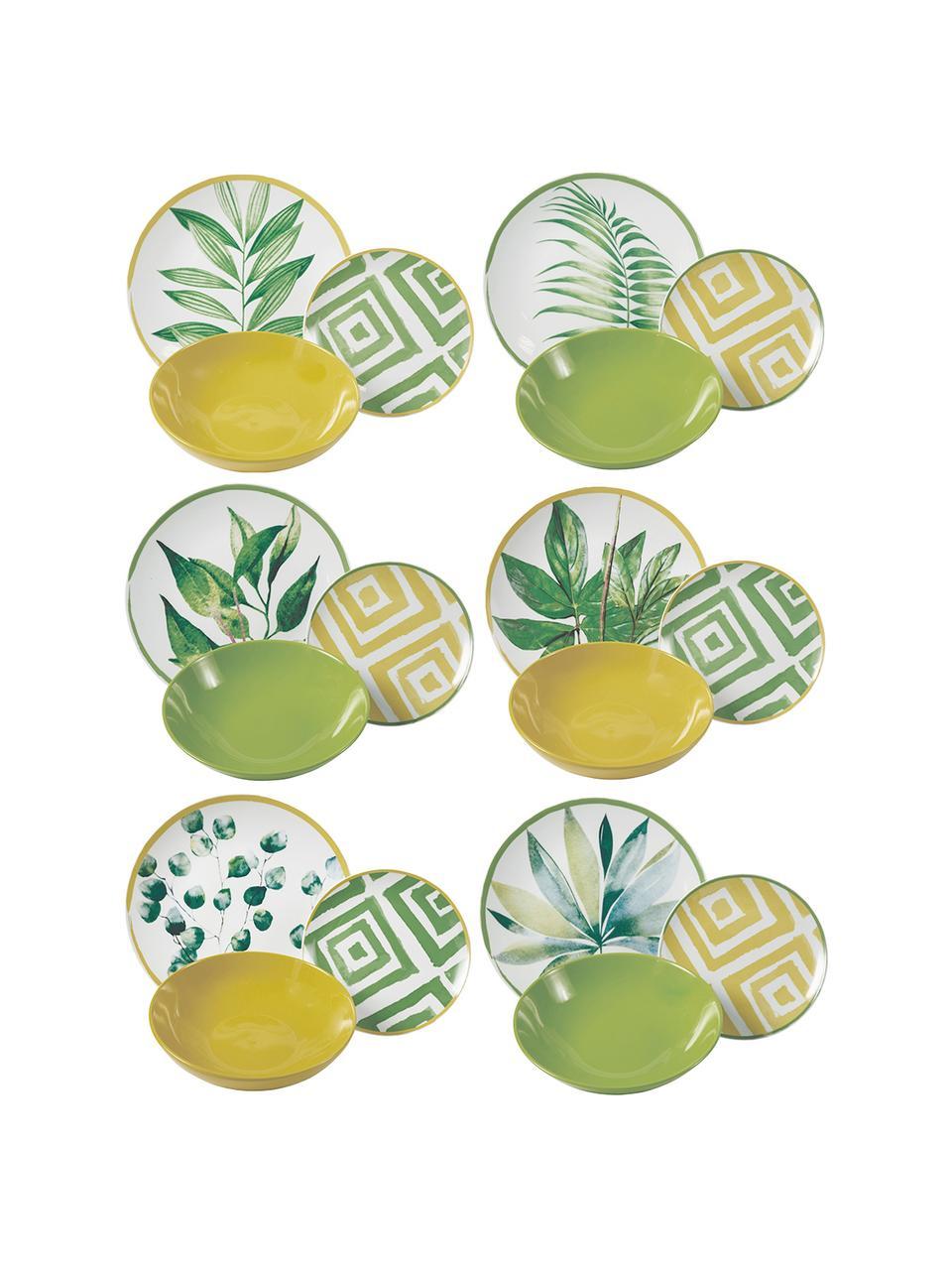 Geschirr-Set Botanique mit tropischem Design, 6 Personen (18-tlg.), Grün, Weiß, Gelb, Sondergrößen