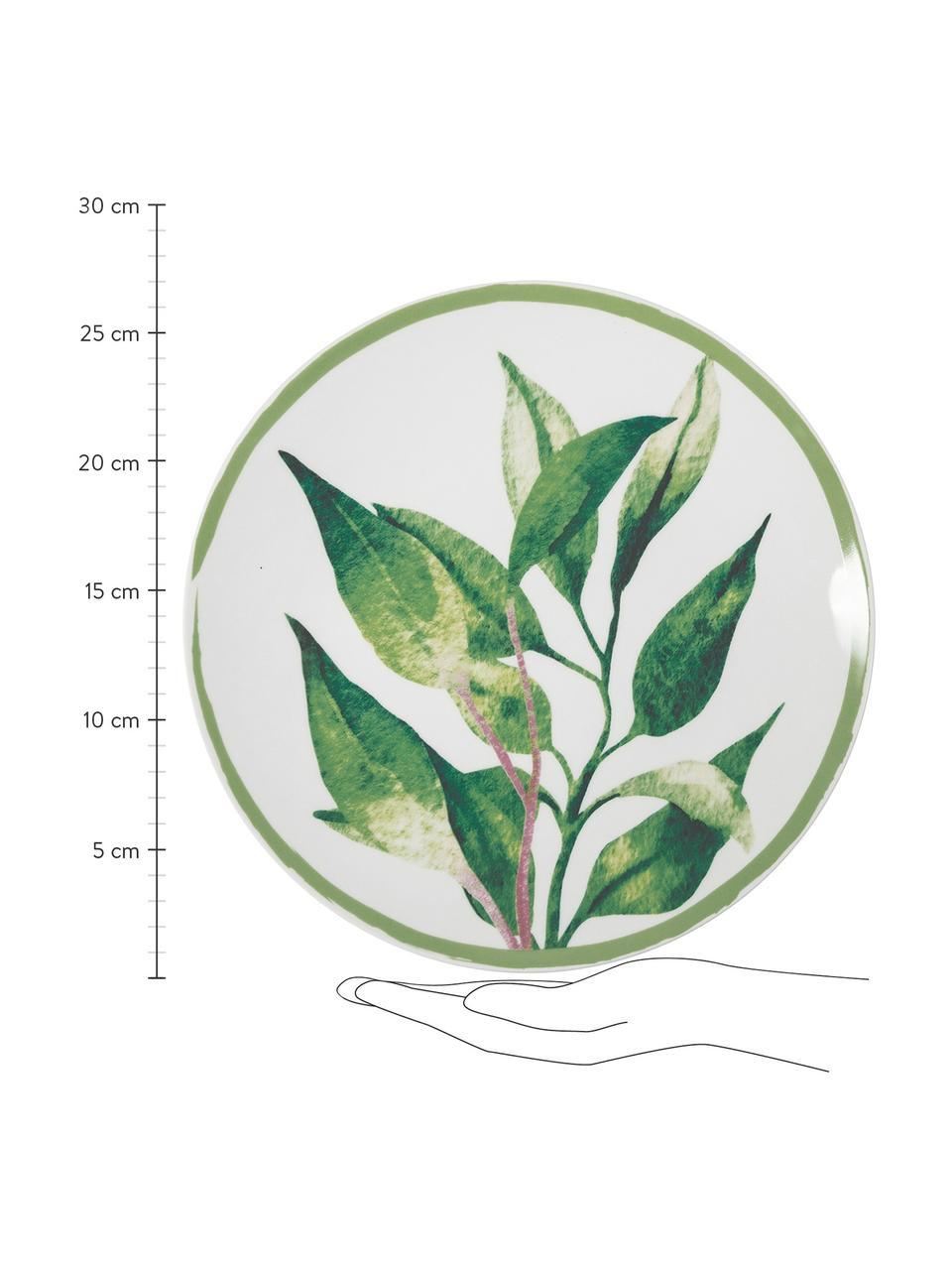 Komplet naczyń Botanique, 18 elem., Zielony, biały, żółty, Komplet z różnymi rozmiarami