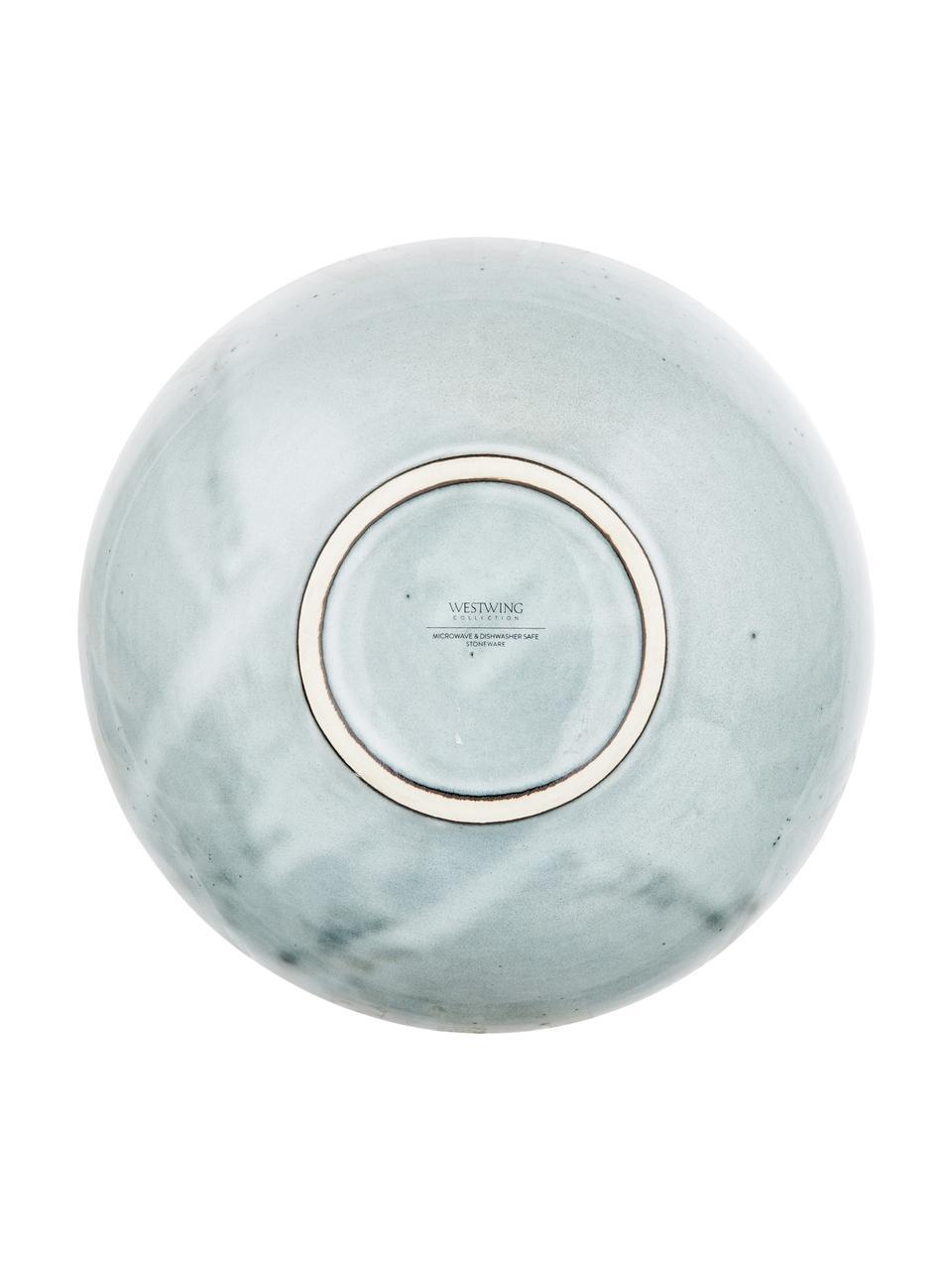 Ręcznie wykonana miska z kamionki Thalia, 2 szt., Kamionka, Niebieskoszary, Ø 18 x W 6 cm