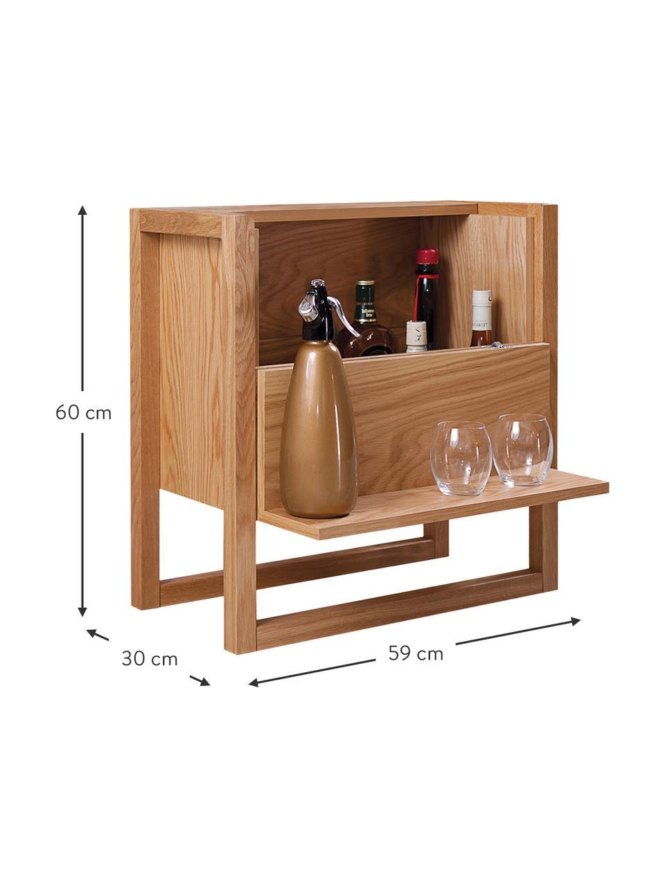 Mini bar in legno di quercia NewEst, Legno di quercia, Larg. 59 x Alt. 60 cm