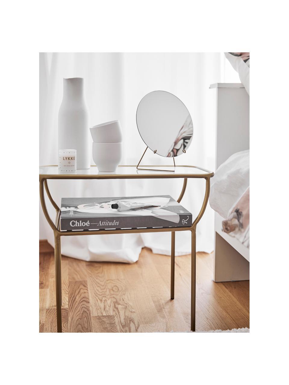 Lusterko kosmetyczne Standing Mirror, Stelaż: mosiądz, Stelaż: mosiądz Lustro: szkło lustrzane, S 20 x W 23 cm