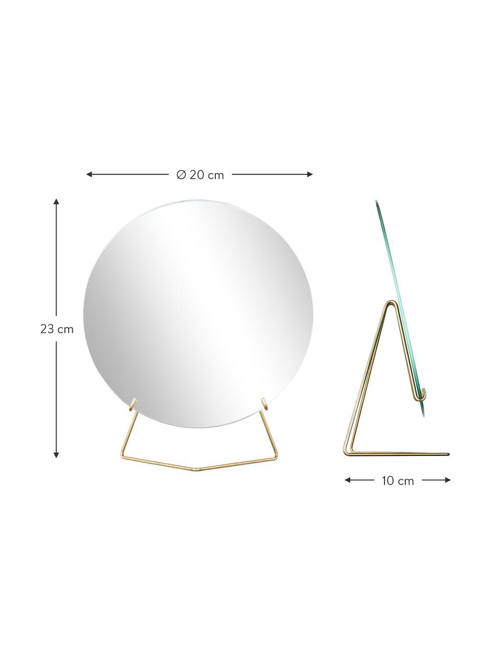 Runder Kosmetikspiegel Standing Mirror mit goldenem Stahlrahmen, Gestell: Stahl, pulverbeschichtet, Spiegelfläche: Spiegelglas, Goldfarben, 20 x 23 cm