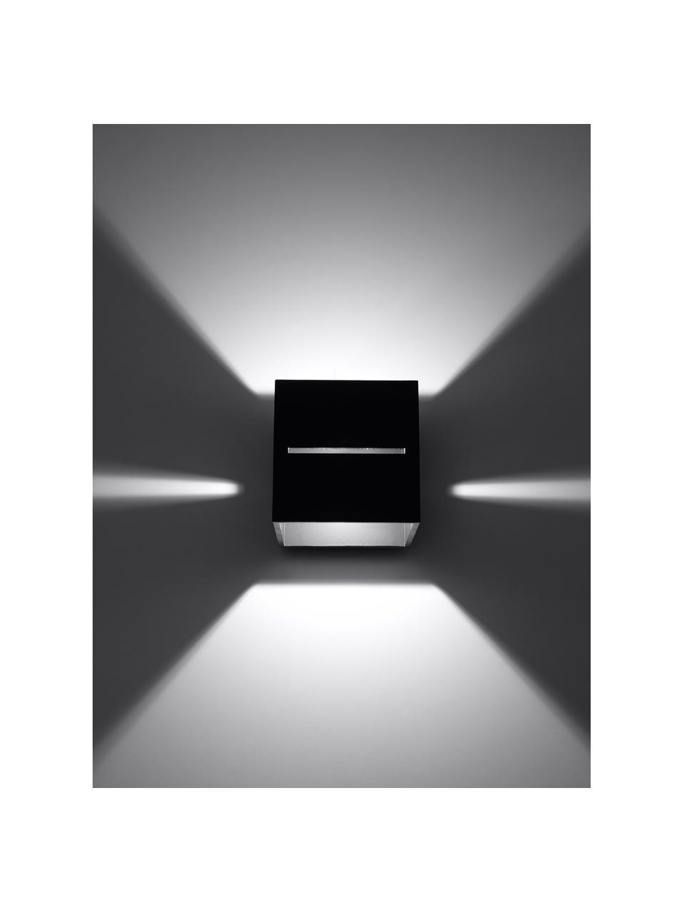 Kleine Wandleuchte Lorum in Schwarz, Lampenschirm: Aluminium, Schwarz, 10 x 10 cm