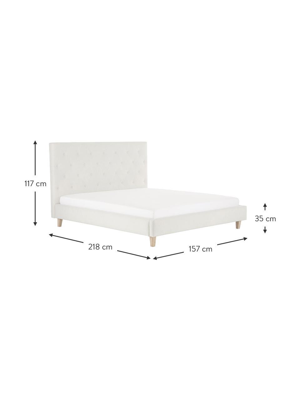 Gestoffeerd bed Serene in beige, Frame: massief grenenhout en pla, Bekleding: polyester (gestructureerd, Poten: massief eikenhout, Geweven stof beige, 180 x 200 cm