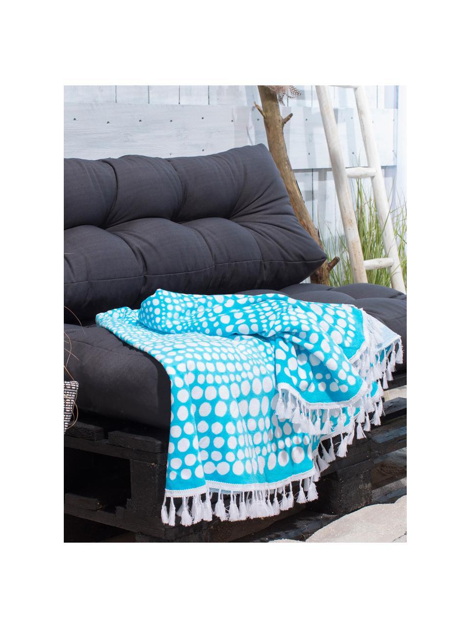 Okrągły ręcznik plażowy Kivi, Turkusowy, biały, Ø 150 cm