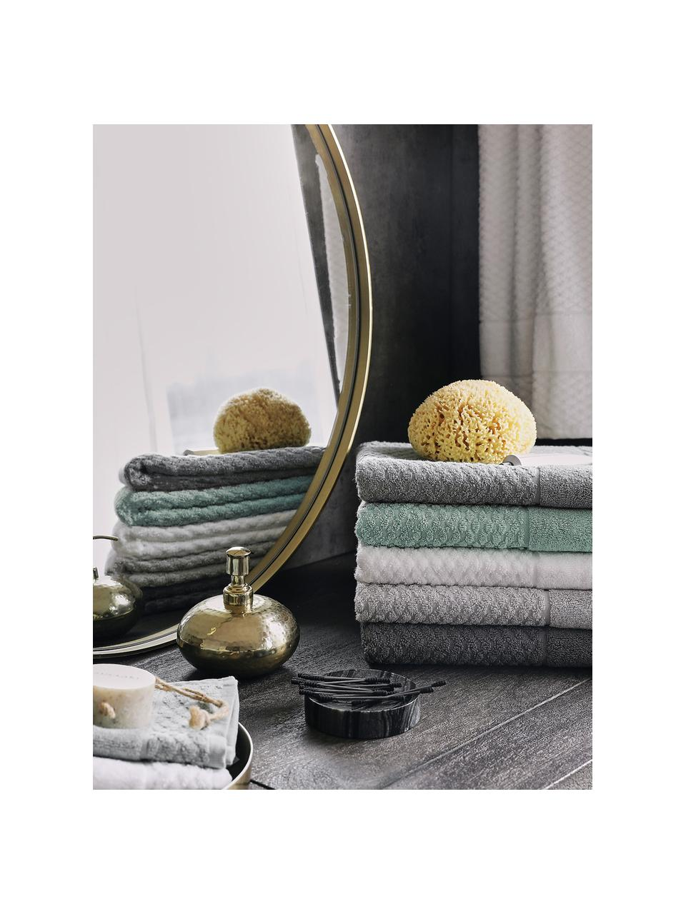 Set 3 asciugamani con motivo a nido d'ape Katharina, Menta, Set in varie misure
