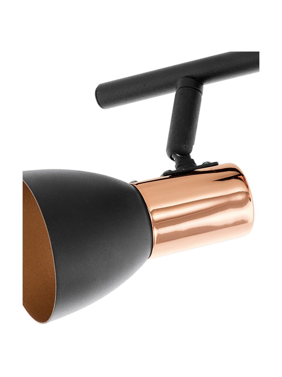 Faretti da soffitto color nero-rame Solaris, Paralume: acciaio verniciato, Montatura: nero, ramato Paralume esterno: nero, Larg. 40 cm