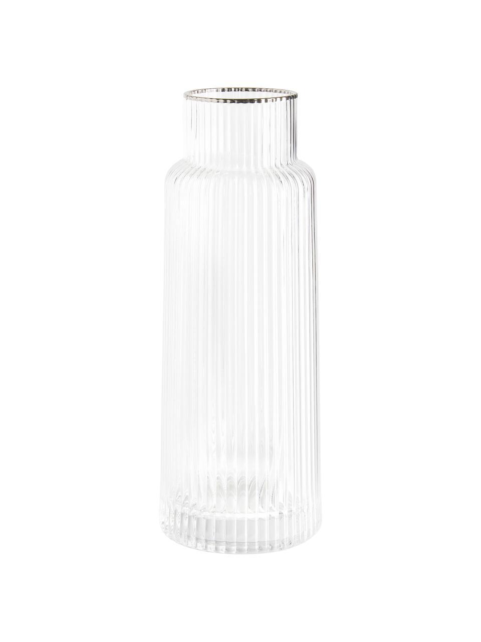 Ručně vyrobená karafa s rýhovaným reliéfem a stříbrným okrajem Minna, Transparentní, stříbrná