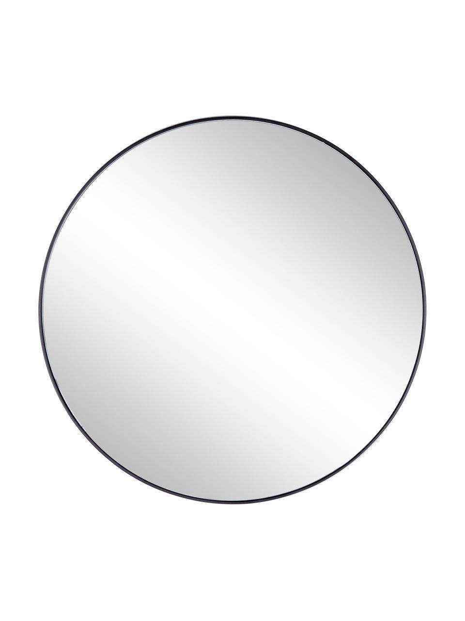 Runder Wandspiegel Nucleos mit schwarzem Metallrahmen, Rahmen: Metall, beschichtet, Spiegelfläche: Spiegelglas, Schwarz, Ø 70 cm