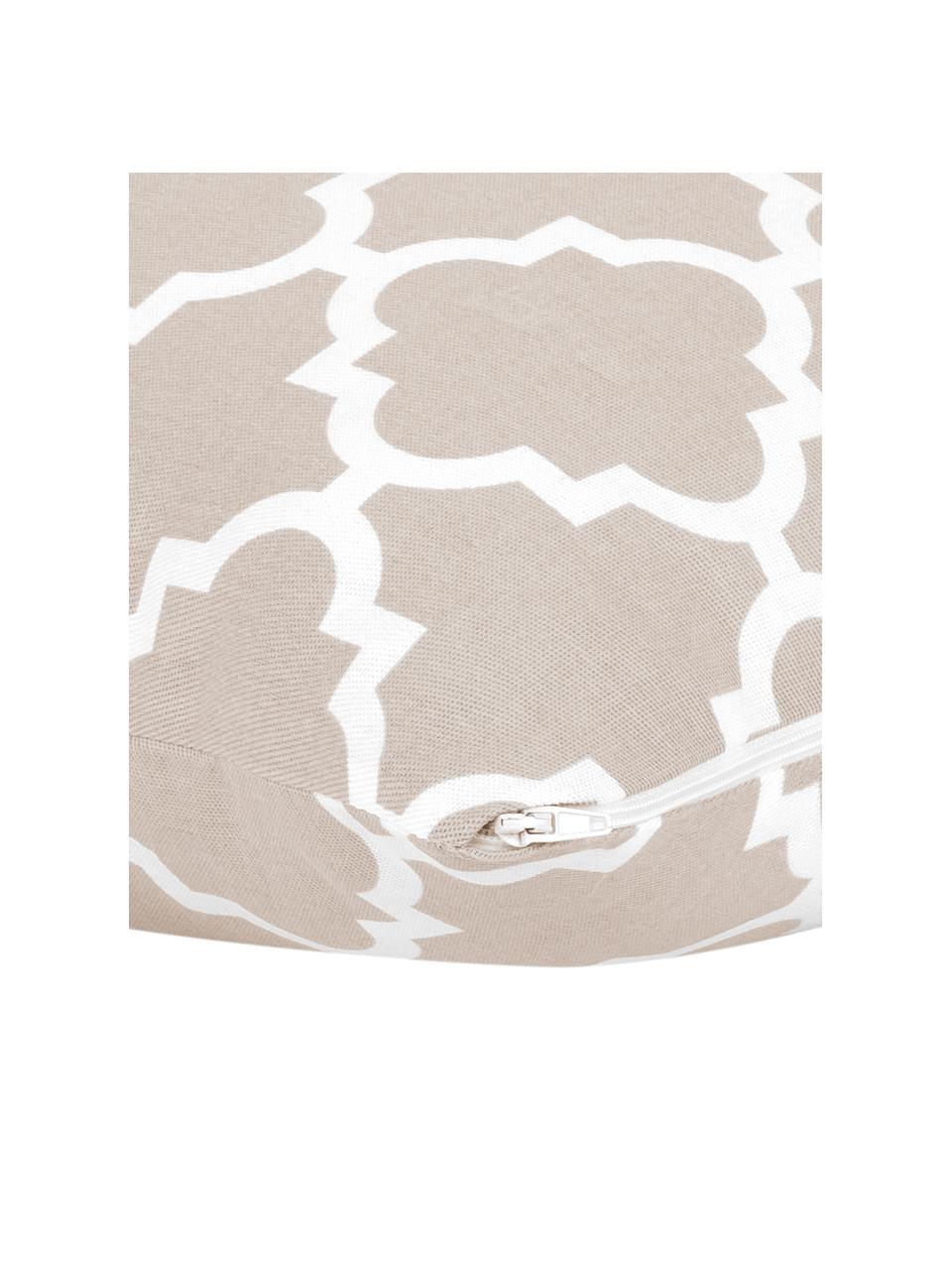 Kissenhülle Lana in Beige mit grafischem Muster, 100% Baumwolle, Beige, Weiß, 45 x 45 cm