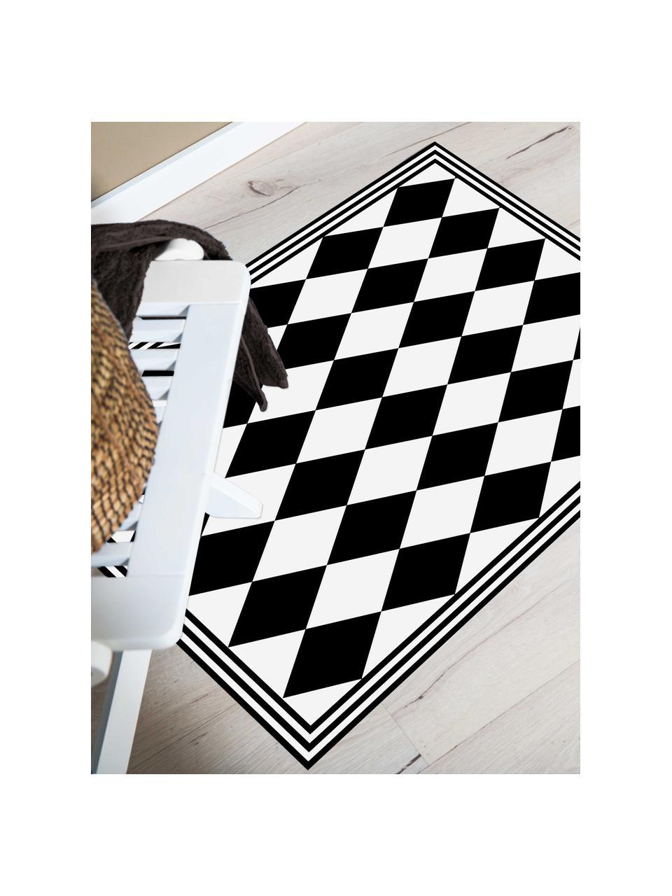 Vlakke vinyl vloermat Bobby II in zwart / wit, antislip, Recyclebaar vinyl, Zwart, wit, 65 x 85 cm
