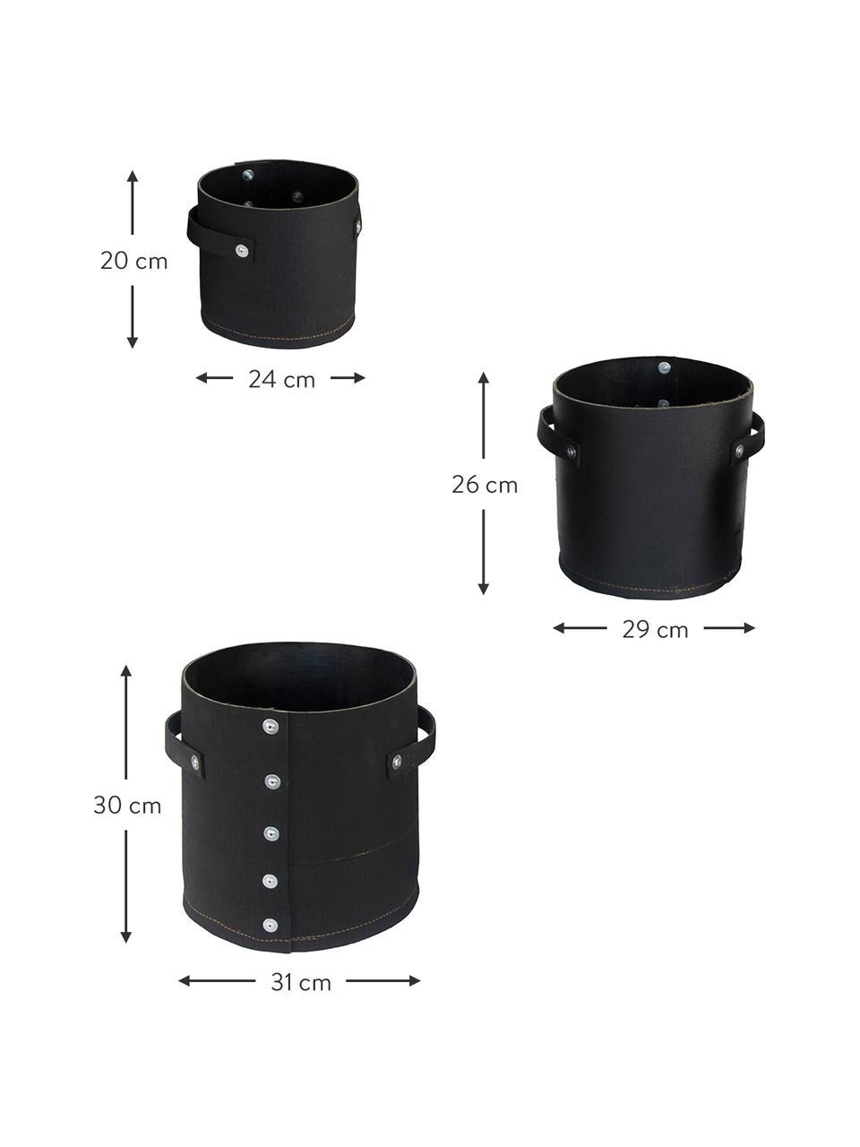 Großes Handgefertigtes Übertopf-Set Reuse, 3-tlg., Gummi, recycelt, Schwarz, Set mit verschiedenen Größen