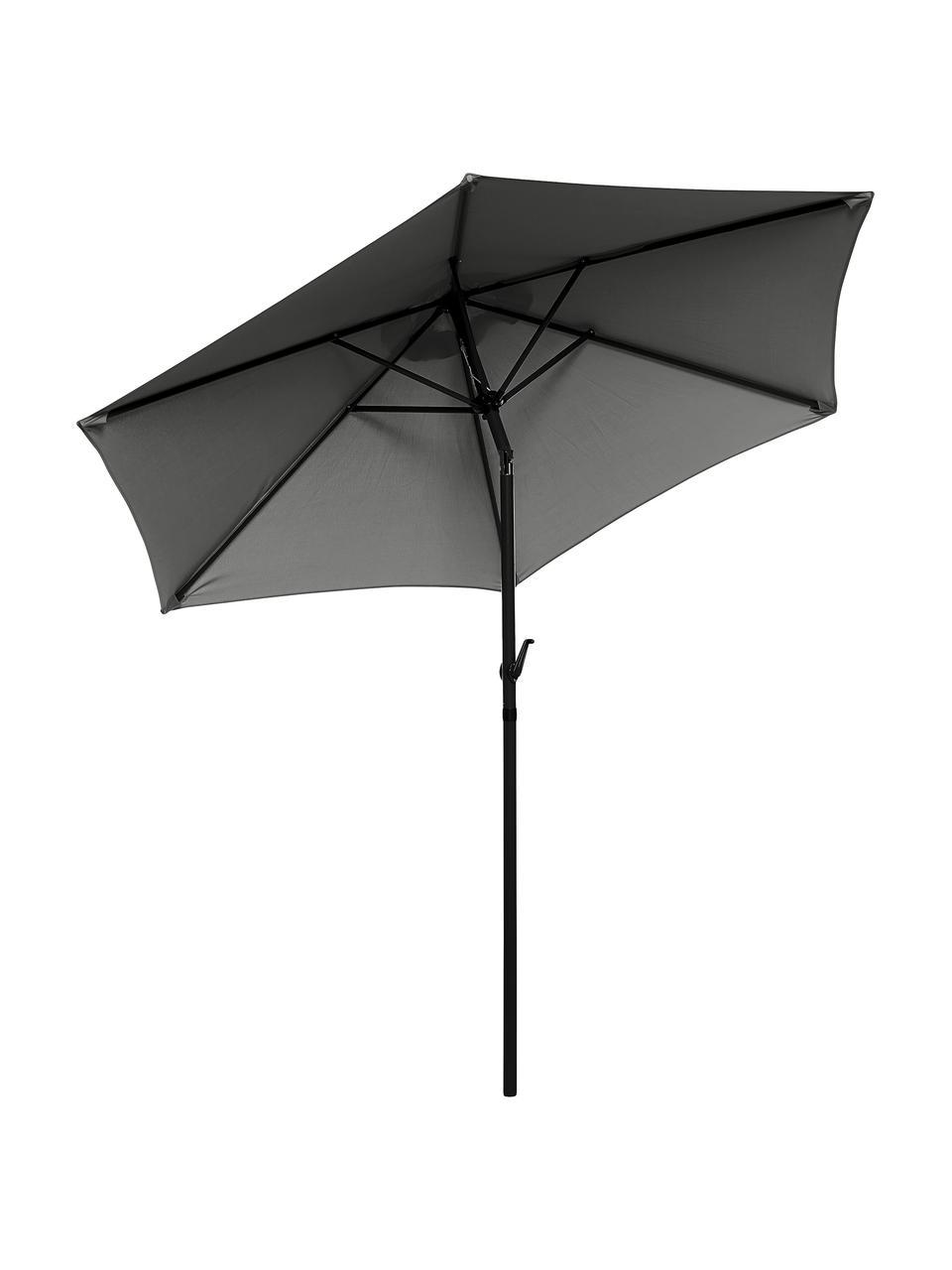 Schwarzer Sonnenschirm Siesta mit Kurbel, abknickbar, Gestell: Aluminium, beschichtet, Bezug: Polyester, Anthrazit, Schwarz, Ø 250 x H 240 cm