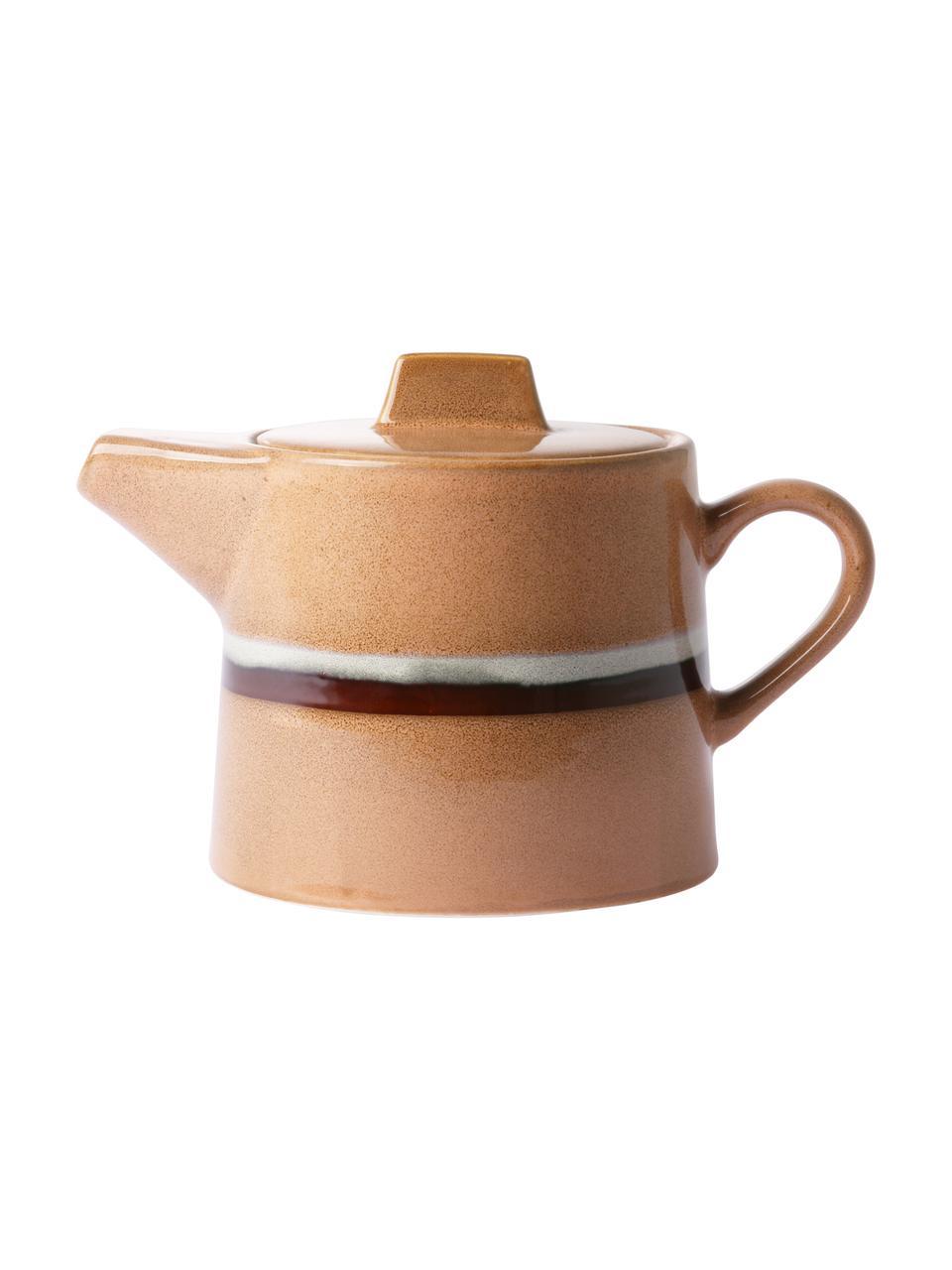 Handgemachte Teekanne 70's im Retro Style, 1,2 L, Steingut, Pfirsichfarben, Grau, Schwarz, 1,2 L
