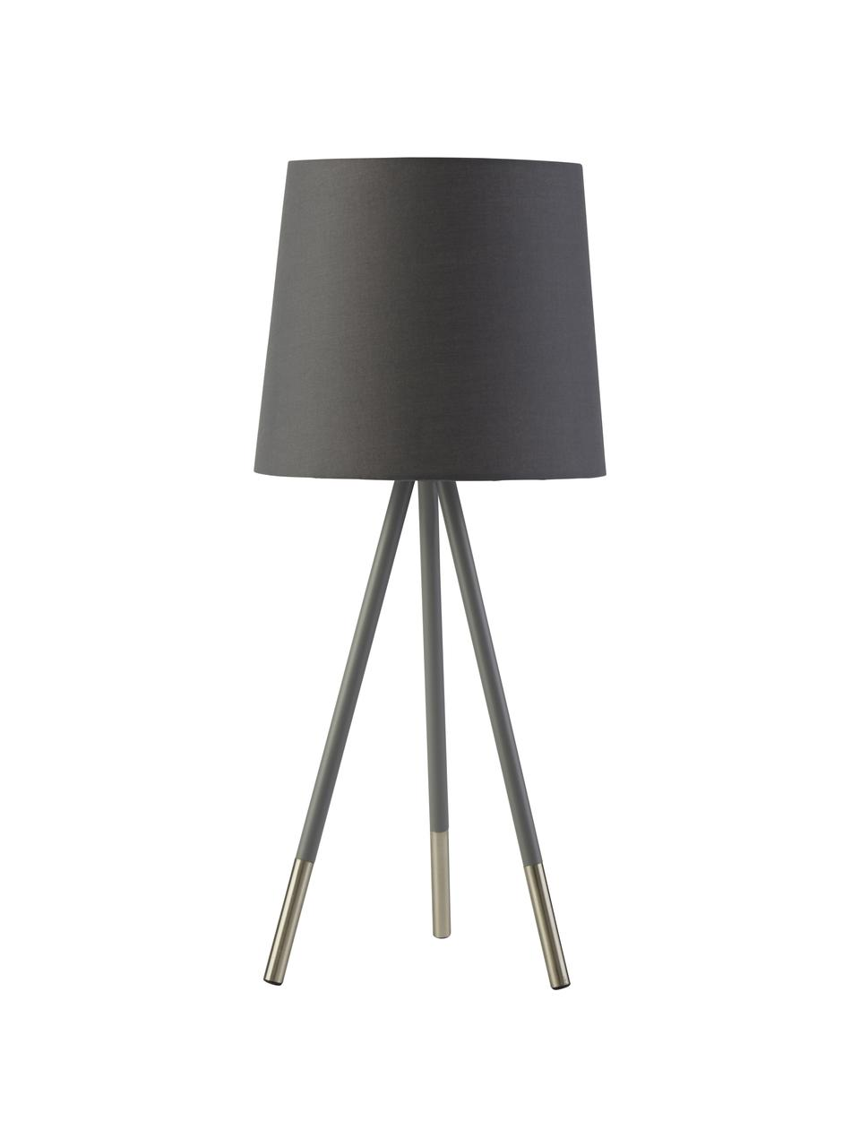Grosse Tripod Tischlampe Ripo, Lampenschirm: Stoff, Dunkelgrau, Silberfarben, Ø 23 x H 54 cm