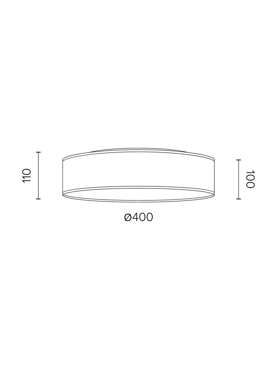 Deckenleuchte Trece in Lederoptik, Lampenschirm: Kunstleder, Diffusorscheibe: Papier, Creme, Ø 40 x H 11 cm