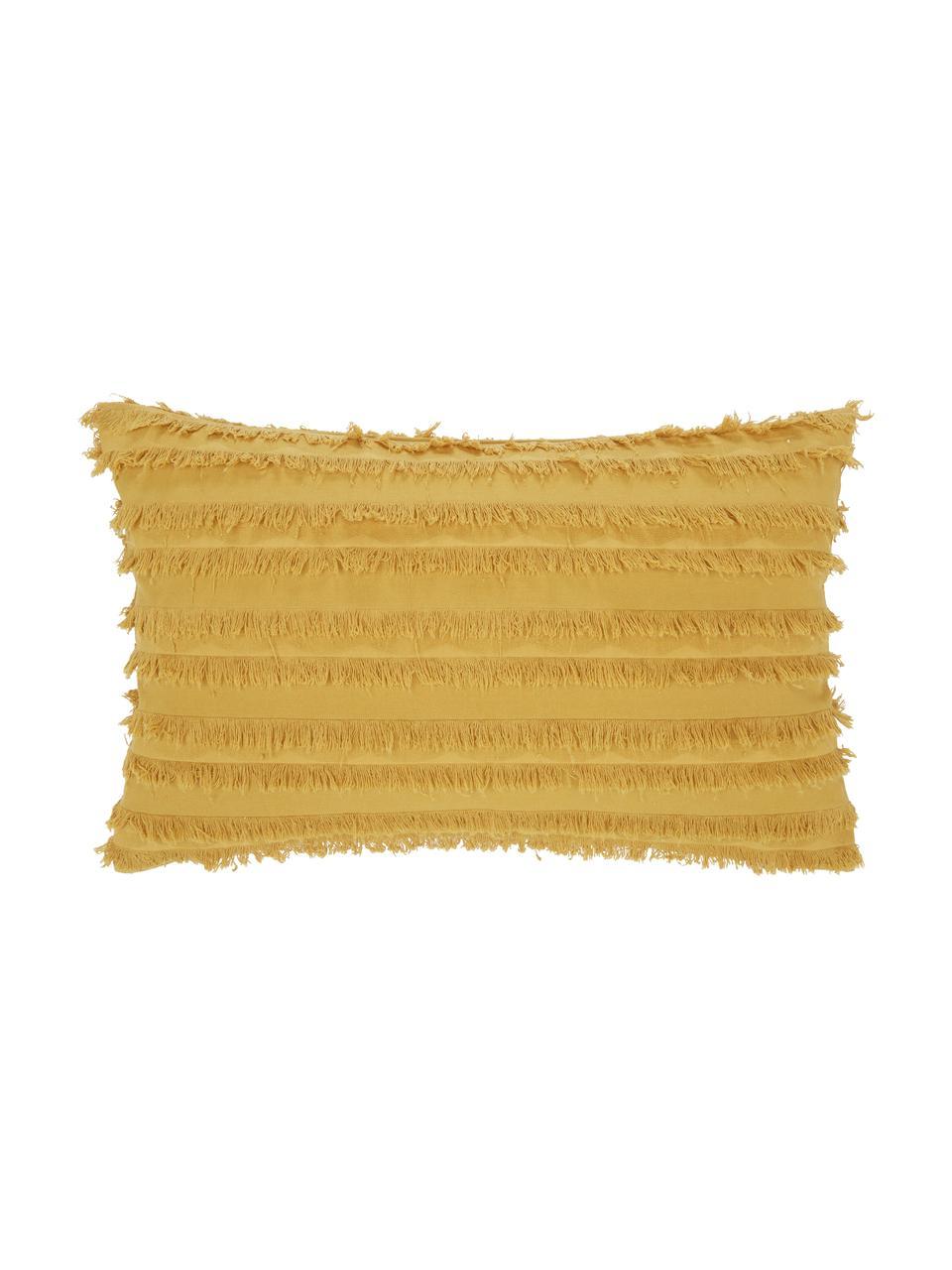 Federa arredo gialla con frange decorative Jessie, 88% cotone, 7% viscosa, 5% lino, Giallo, Larg. 30 x Lung. 50 cm