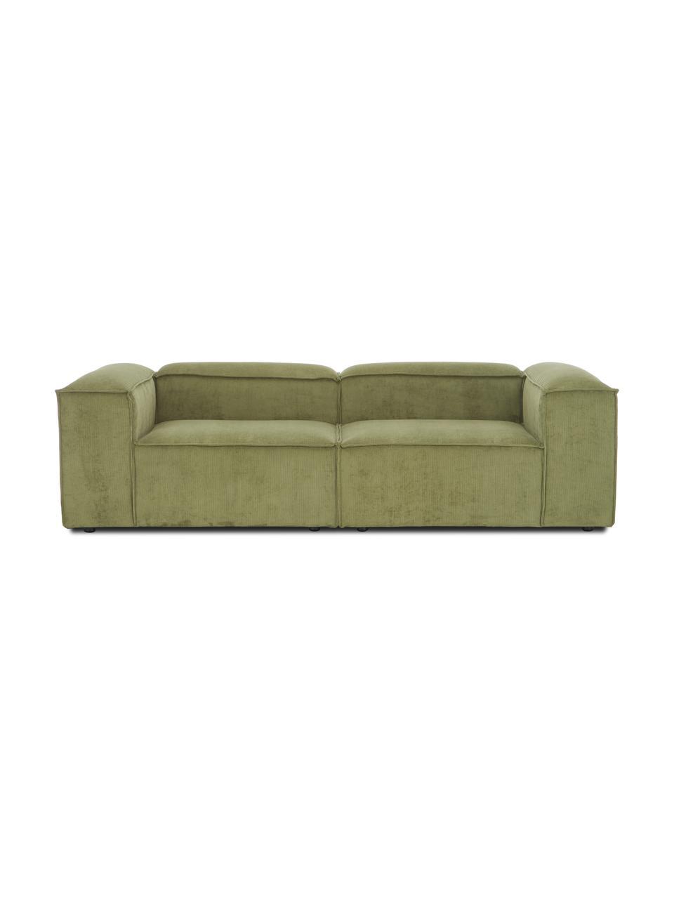 Modulaire bank Lennon (3-zits) in groen van corduroy, Bekleding: corduroy (92% polyester, , Frame: massief grenenhout, multi, Poten: kunststof De poten bevind, Corduroy groen, 238 x 119 cm